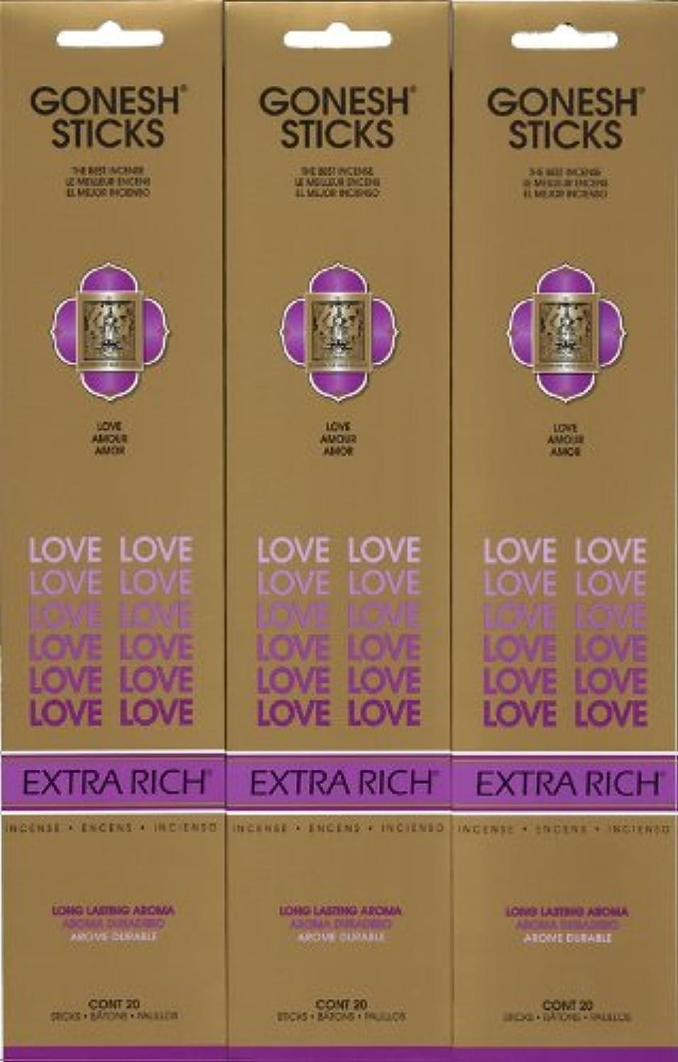 ガイドマーチャンダイジング蒸GONESH LOVE ラブ スティック 20本入り X 3パック (60本)