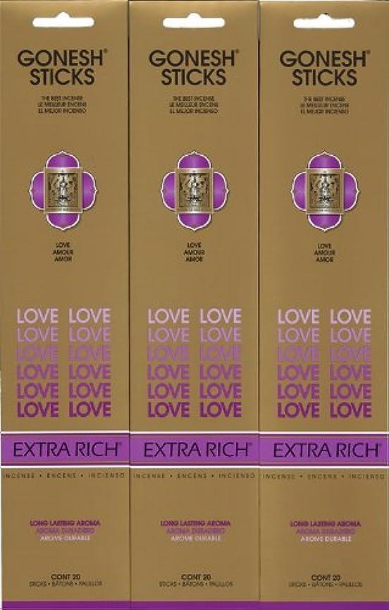 クアッガ十年自然公園GONESH LOVE ラブ スティック 20本入り X 3パック (60本)