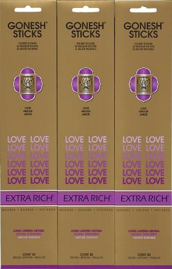 ブルーム必要とする強調するGONESH LOVE ラブ スティック 20本入り X 3パック (60本)