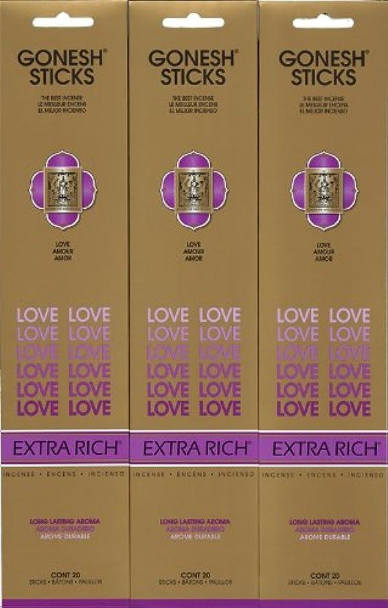 誓う台無しに入り口GONESH LOVE ラブ スティック 20本入り X 3パック (60本)