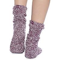 ベアフットドリームス 靴下 バーガンディー×ホワイト CozyChic Heathered Women's Socks [並行輸入品]