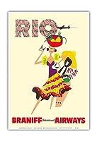 ブラジル リオデジャネイロ - カスタネットを鳴らすブラジルのドラマーとダンサー - ブラニフ航空 - ビンテージな航空会社のポスター c.1960s - アートポスター - 23cm x 31cm
