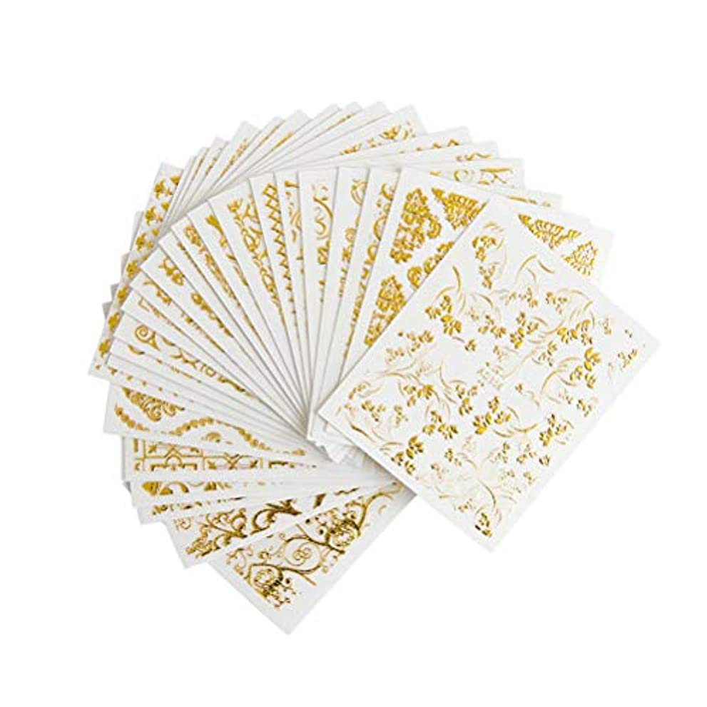 再生可能バーベキュー八百屋Frcolor ネイルシール 3D ネイルステッカーセット レース花 ゴールド デザイン ネイルアートシール 爪に貼るだけ 20枚セット(ランダムパターン)