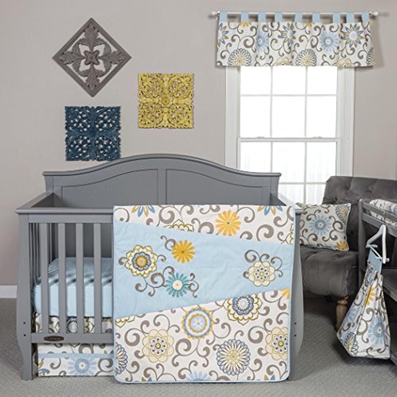 4ピースベビーガールズブルーホワイトイエロー花ベビーベッド寝具セット、新生児花柄テーマ子供部屋ベッドセット幼児子かわいいペイズリーデイジー幾何リバーシブルブランケットキルト、コットンポリエステル