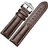 Lemcos  時計ベルト 時計 バンド 交換ベルト 本革ベルト 腕時計ストラップ クラシカルな雰囲気の尾錠 ワンタッチで装着簡単 アダプター付き 時計 ベルト 20mm (ブラウン)