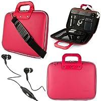 SumacLife Cady 10.1インチタブレットメッセンジャーバッグ ホットT921H 9インチタブレット用 ブラックヘッドフォン付き ピンク