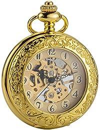(シボサン)ブランド 機械式 手巻き 懐中時計 ゴールド ルーペ付きトランスル 拡大鏡 カバー 設計 男性 チェーン ギフト ボックス SIBOSUN