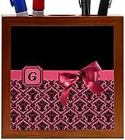Rikki Knight Letter G Red Monogram Damask Bow Design 5-Inch Tile Wooden Tile Pen Holder (RK-PH41852) [並行輸入品]