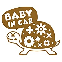 imoninn BABY in car ステッカー 【シンプル版】 No.53 カメさん (ゴールドメタリック)