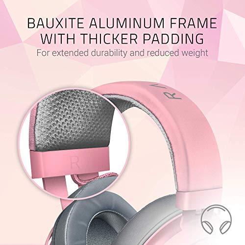 『Razer Kraken Quartz Pink ゲーミングヘッドセット 3.5mm 冷却パッド PS4 PC Switch スマホ【日本正規代理店保証品】 RZ04-02830300-R3M1』の4枚目の画像