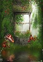 aofoto 6x 8ft女の子写真背景大人用写真撮影背景幕Dreamy Garden Mushroom花古いWell Grass床テーマDrops Kid幼児用Artistic PortraitシーンStudio Propsビデオデジタル