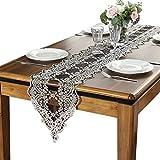 テーブルランナーブラックレース、ファミリーディナーやパーティー、日常使用用のオープンワークテーブルランナー(8サイズあり) (色 : クリア, サイズ さいず : 30×250cm)