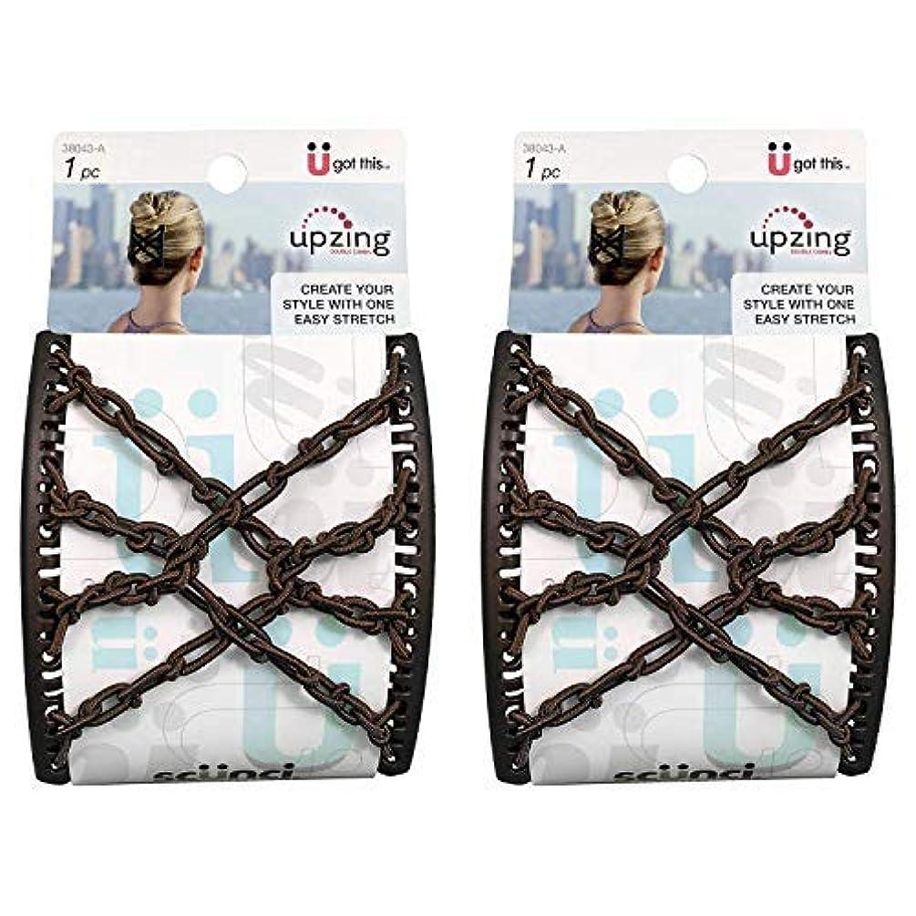 広大な休憩する免除Scunci Braided Upzing Double Combs Large | Easy-Stretch, Assorted Colors | 2-Units [並行輸入品]