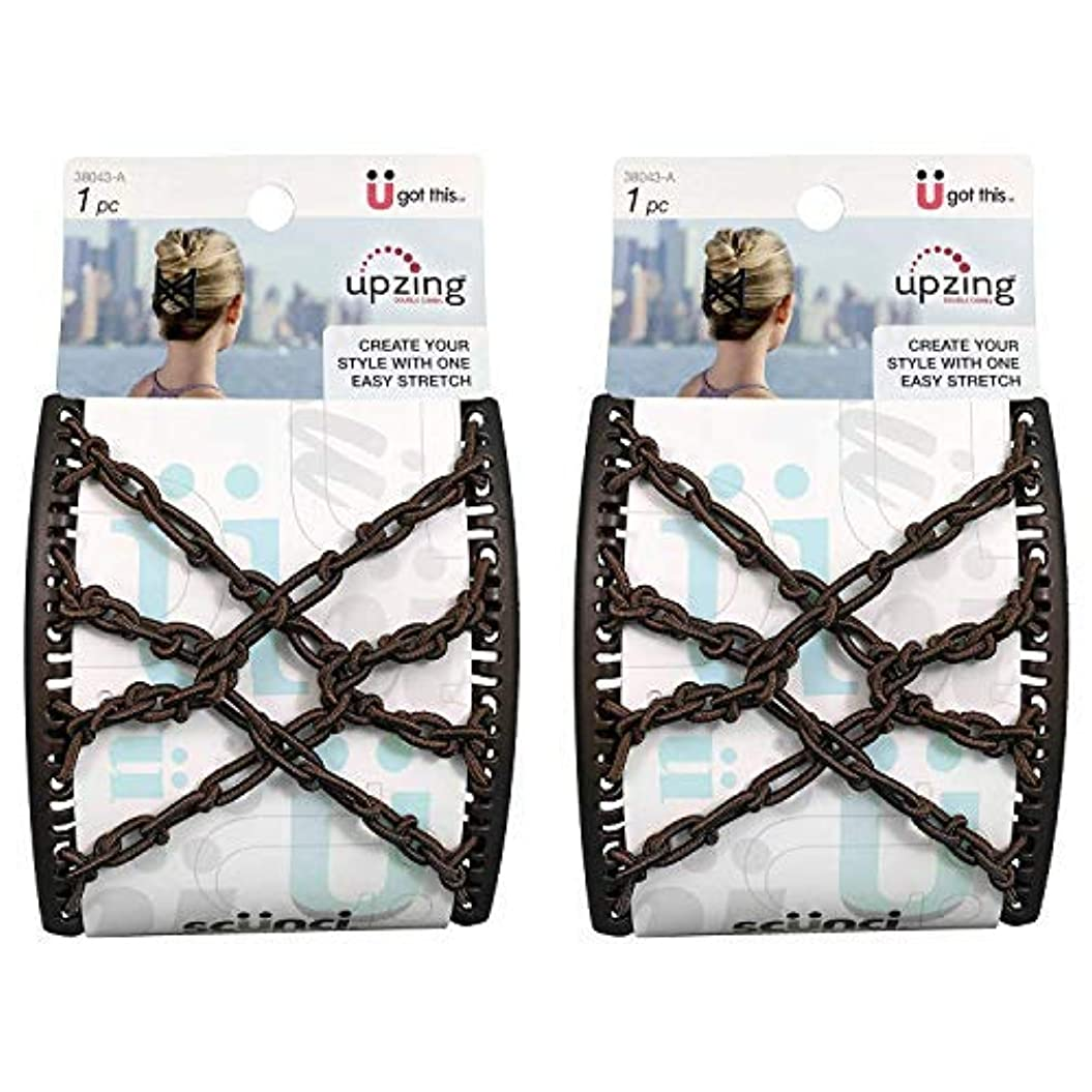 葉っぱ再発する大理石Scunci Braided Upzing Double Combs Large | Easy-Stretch, Assorted Colors | 2-Units [並行輸入品]