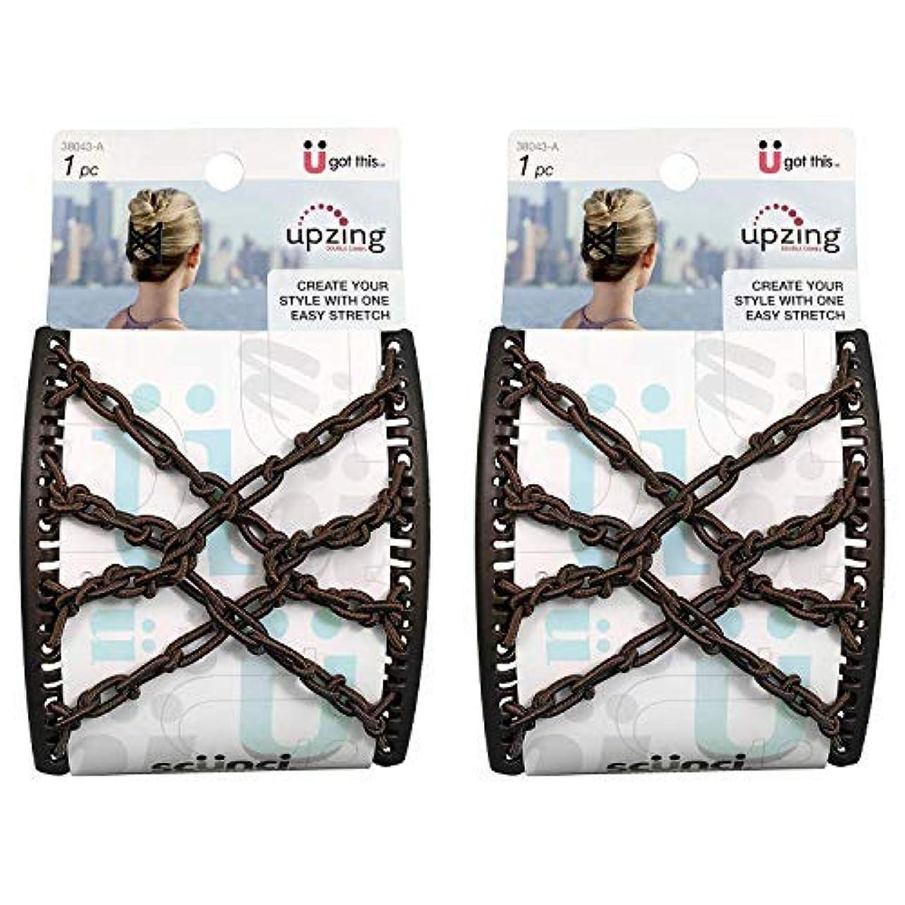 体細胞砂トランクScunci Braided Upzing Double Combs Large   Easy-Stretch, Assorted Colors   2-Units [並行輸入品]
