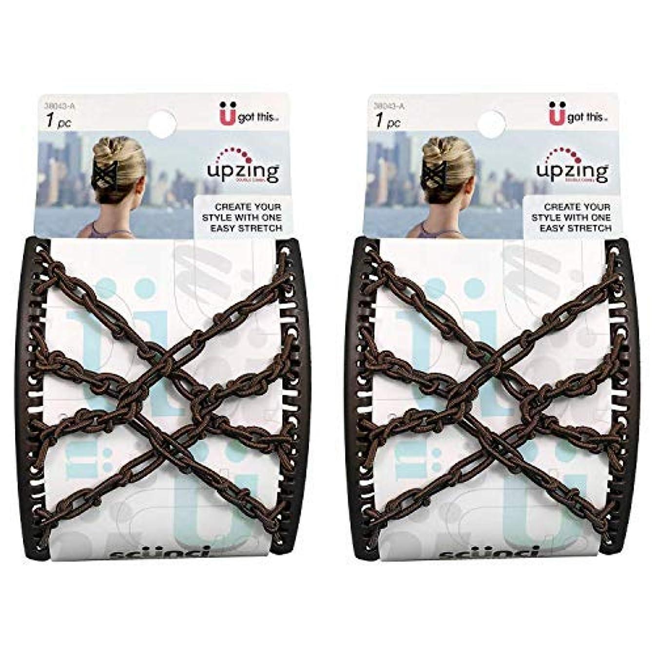 ビリー民間差し迫ったScunci Braided Upzing Double Combs Large | Easy-Stretch, Assorted Colors | 2-Units [並行輸入品]