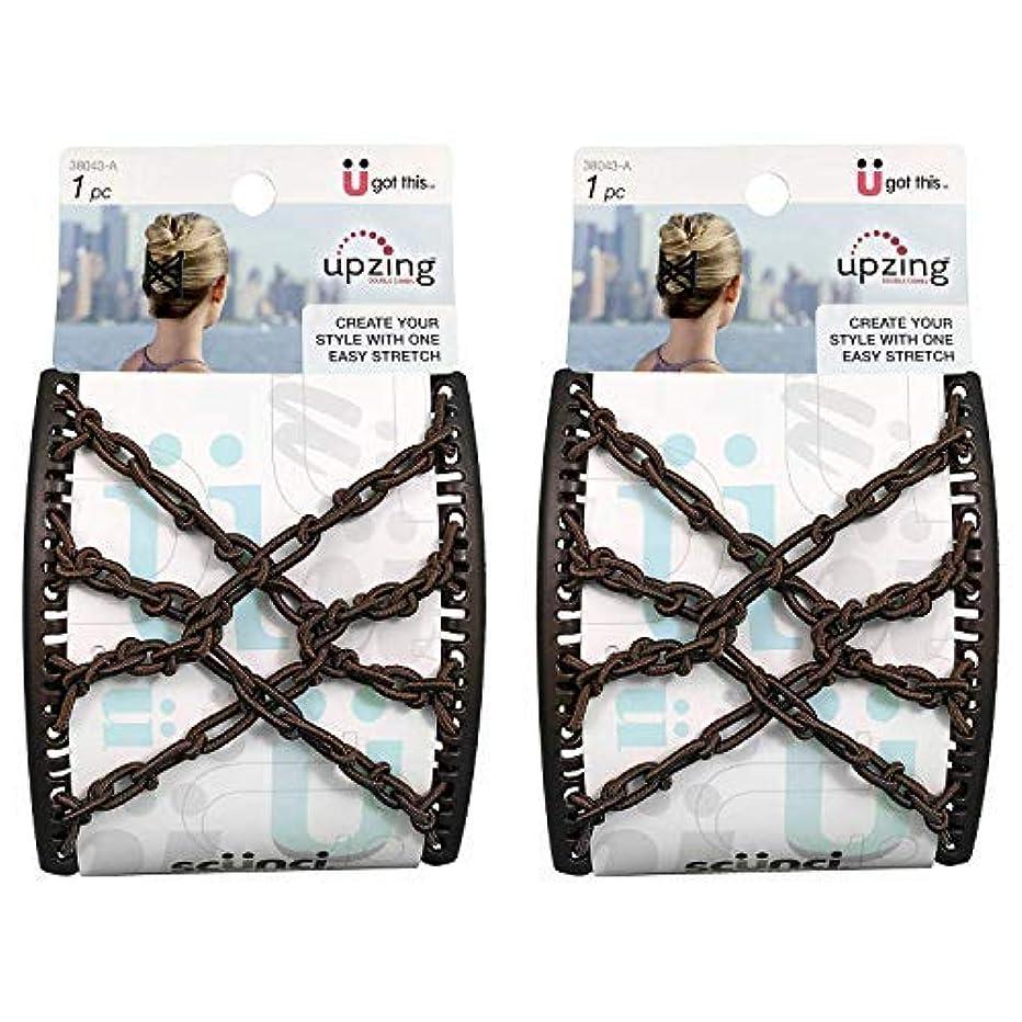 オープナー警報蒸発するScunci Braided Upzing Double Combs Large | Easy-Stretch, Assorted Colors | 2-Units [並行輸入品]