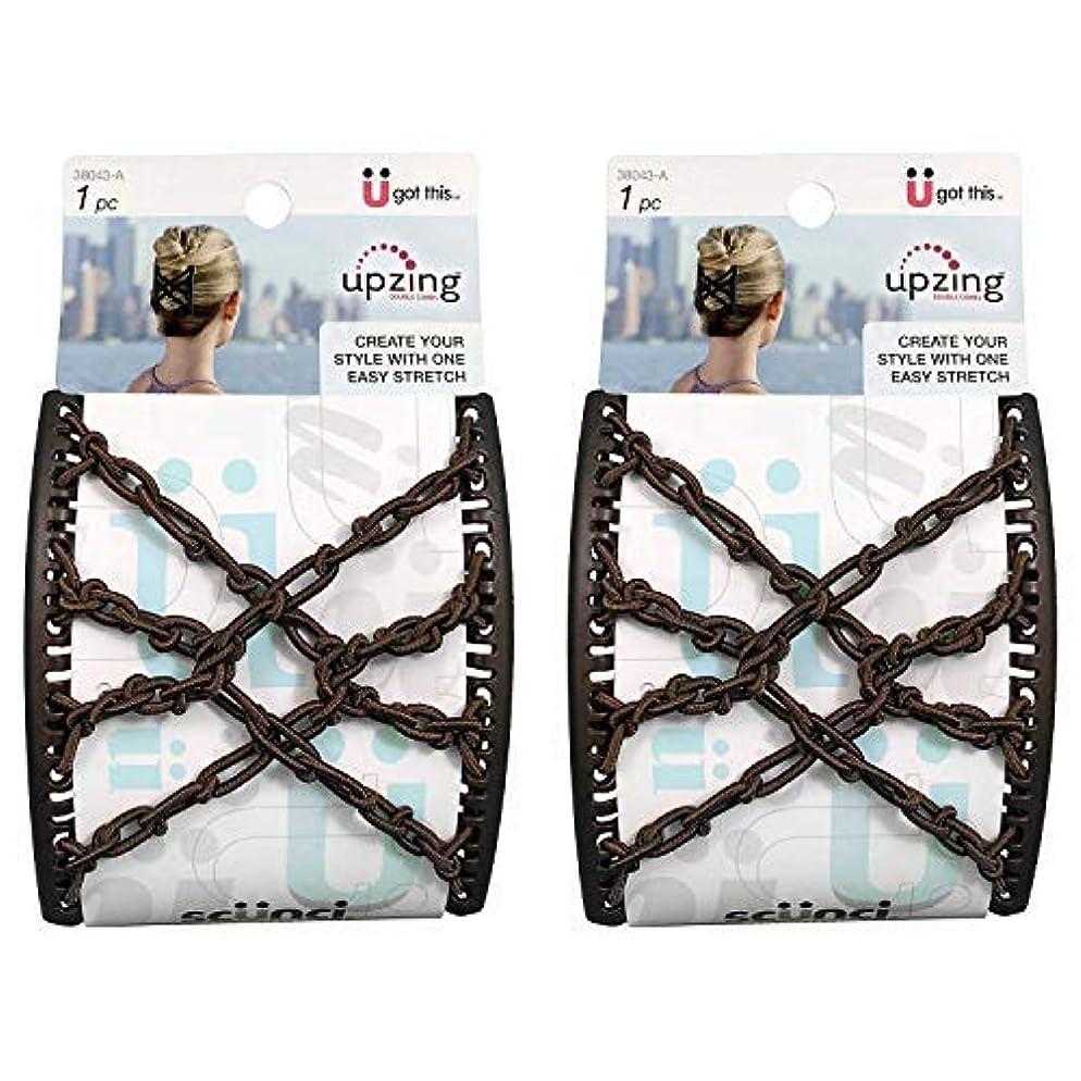 地図ブレイズ超えるScunci Braided Upzing Double Combs Large | Easy-Stretch, Assorted Colors | 2-Units [並行輸入品]