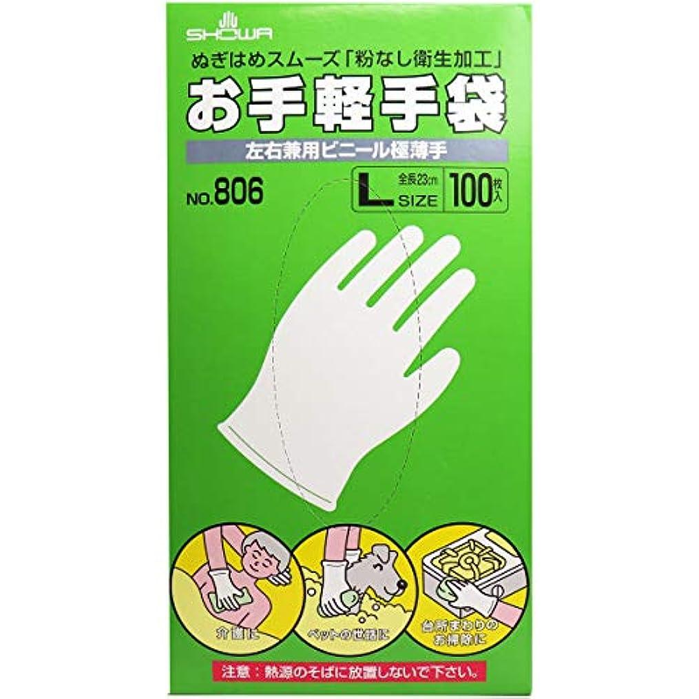 インシュレータ攻撃的告白するお手軽手袋 No.806 左右兼用ビニール極薄手 粉なし Lサイズ 100枚入×5個セット(管理番号 4901792033602)