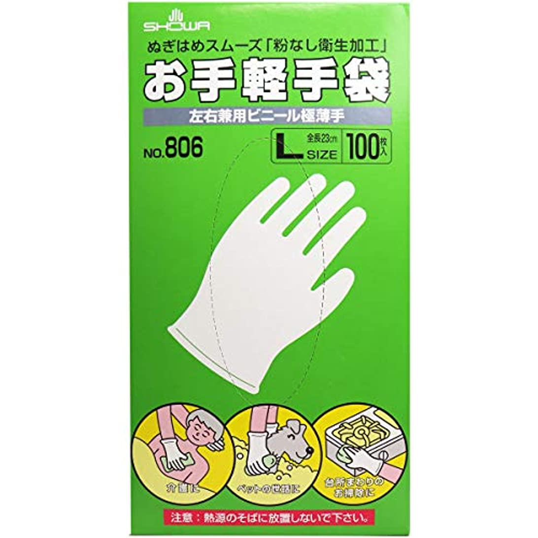 傾くホイットニー快いお手軽手袋 No.806 左右兼用ビニール極薄手 粉なし Lサイズ 100枚入×2個セット