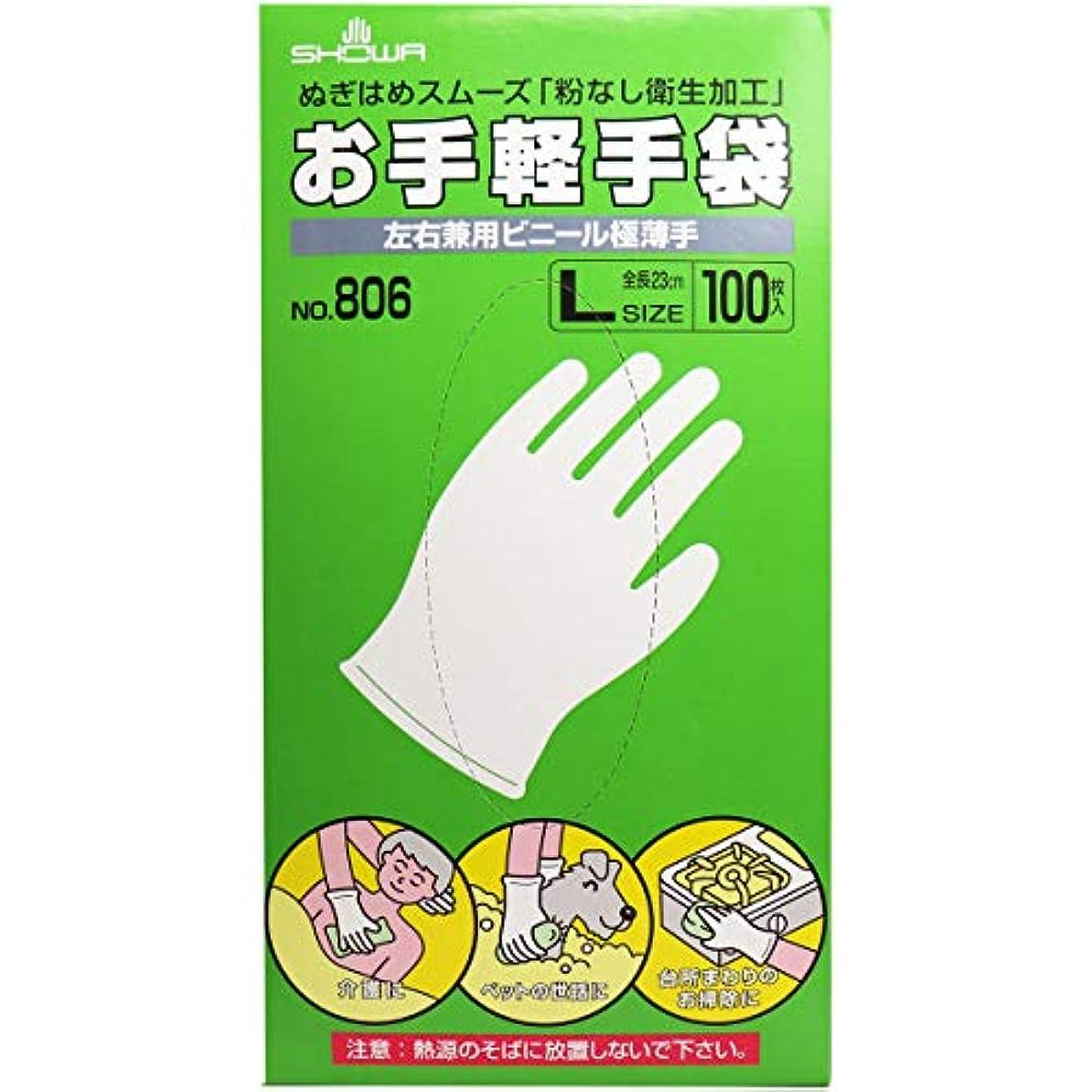 幾分ゴール解明するお手軽手袋 No.806 左右兼用ビニール極薄手 粉なし Lサイズ 100枚入×5個セット(管理番号 4901792033602)