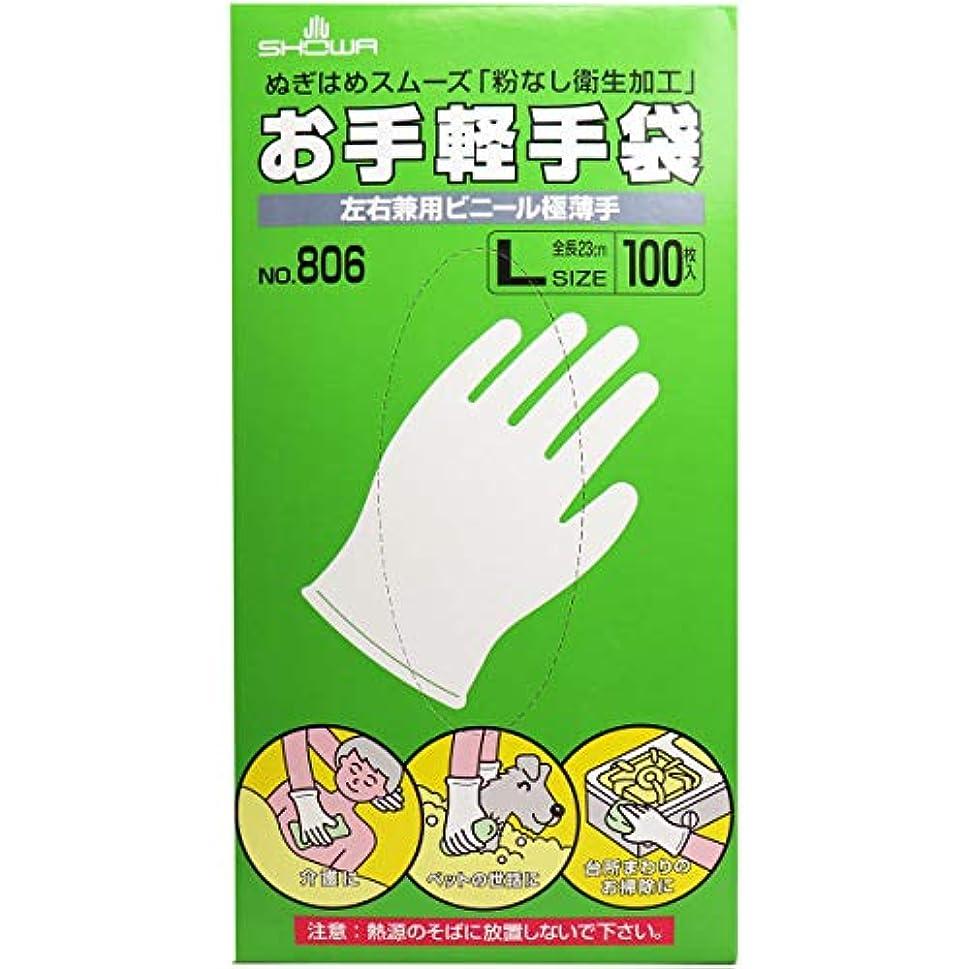 すり時間厳守鎖お手軽手袋 No.806 左右兼用ビニール極薄手 粉なし Lサイズ 100枚入×2個セット