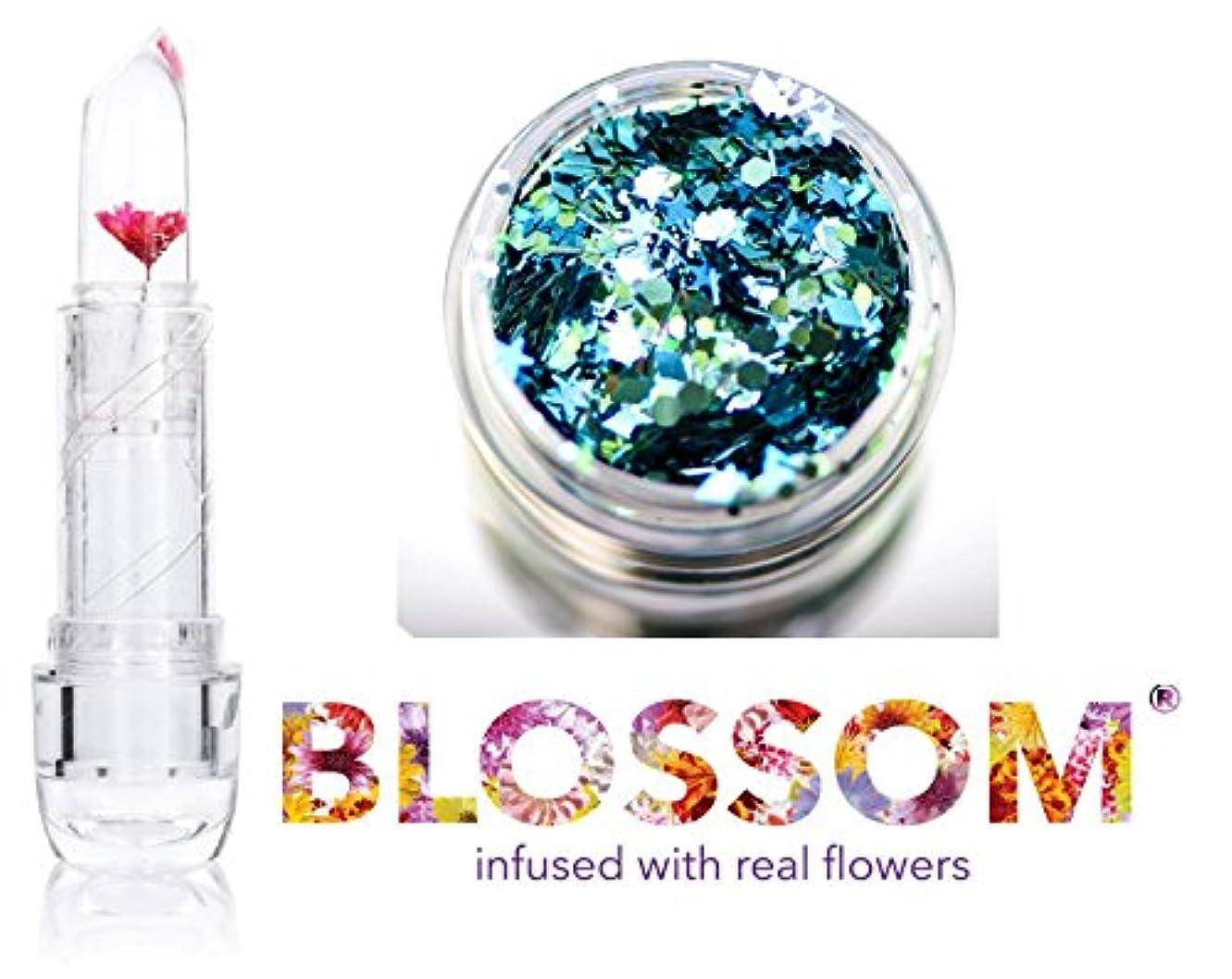 反響する満足繊維Blossom (ボーナススキン/ヘアーグリッター付き)実花を注入されたクリスタルリップバーム、(赤い花)