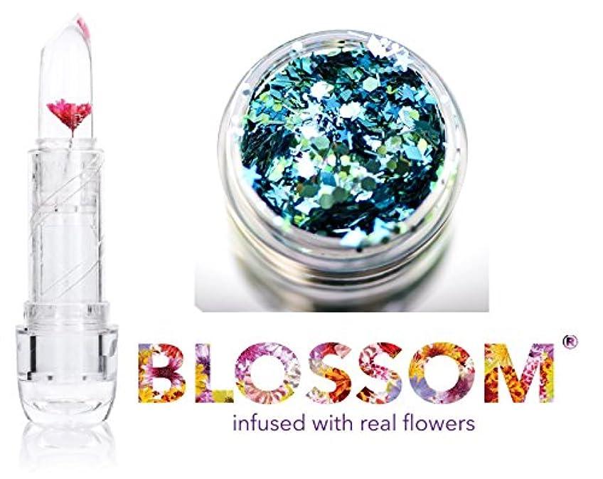 大洪水夏パネルBlossom (ボーナススキン/ヘアーグリッター付き)実花を注入されたクリスタルリップバーム、(赤い花)