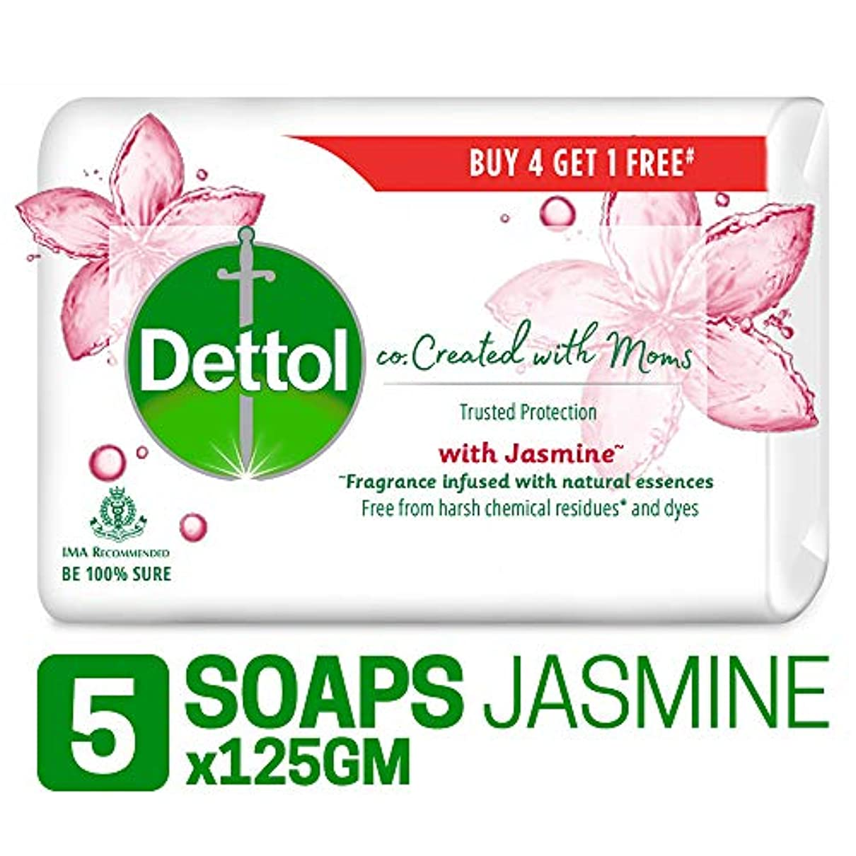 Dettol Co-created with moms Jasmine Bathing Soap, 125gm (Buy 4 Get 1 Free)