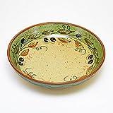 ポルトガル製 陶器 パスタ皿 21cm ブラック オリーブ柄 手描き ボウル 黄色 pfa-7g-ov