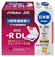Victor 映像用DVD-R 片面2層 CPRM対応 キューブケース 8倍 215分 8.5GB ホワイトプリンタブル15枚 日本製 VD-R215CC15