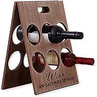 W23 折りたたみ式 ワインラック 木製 アンティーク ホルダー ワイン シャンパン ボトル 6本 収納 ケース インテリア (6本収納)