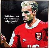 デニス・ベルカンプ アーセナルFC 海外製 サッカーグラフィックアートパネル 木製ポスター インテリア