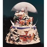 Musical Snow Coveredクリスマス村とサンタ – Sculptured樹脂水ボール音楽ボックス5 3 / 4