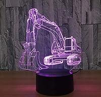 RTYHI 3D 掘削機 ナイトランプ ファントム LED 7色 USB ノベルティ 車型 デスク ベッドサイド ナイトランプ 装飾ランプ 子供用ギフト タッチエディション