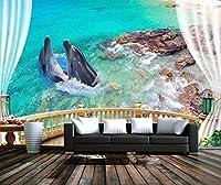 Minyose 家の装飾の壁紙ヨーロッパのバルコニー海の景色海洋イルカの石造りのテレビのソファーの背景の壁の壁画3Dの壁紙-450cmx300cm