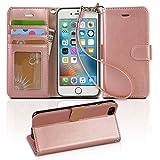 【Arae】 iPhone6 / 6s ケース 手帳型「 スタンド機能 カードポッケト ストラップ」人気 おしゃれ 落下防止 衝撃吸収 財布型 おすすめ アイフォン 6 / 6s 用 カバー (iPhone6 / 6s , ローズゴールド)