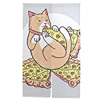 Carrozza のれん 目隠し 間仕切り ロング おしゃれ 猫 猫柄 ピザ 和風 遮熱 遮光 ドア カーテン かわいい 居酒屋 出入り口 玄関 インテリア 棒付き 86×143cm