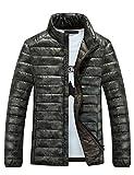 メンズ ダウンジャケット ライトコート 迷彩 超軽量 アウトドア 登山防風防寒コート Glestore(グラストア)グリーンXL