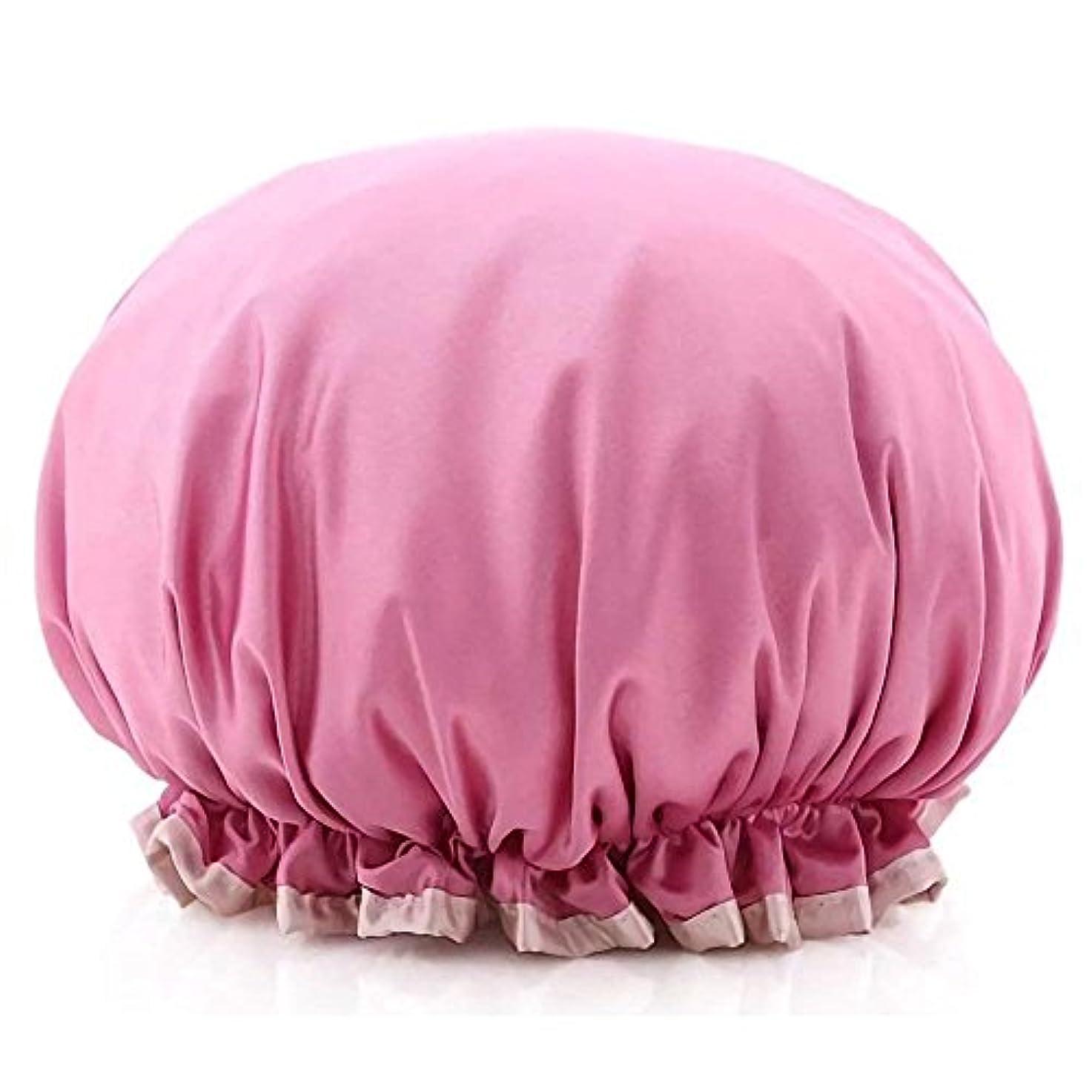 シャワーキャップ ヘアキャップ ヘアーターバン 防水シャワーキャップ お風呂、シャワー用に 浴用帽子 なサロンの髪を保護する帽子 (ピンク)