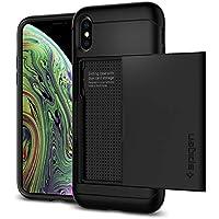 【Spigen】 スマホケース iPhone XS ケース/iPhone X ケース 5.8インチ 対応 米軍MIL規格取得 耐衝撃 IC カード収納 スリム・アーマー CS 057CS22155 (ブラック)