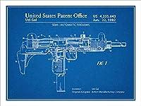 "1982Uzi Submachine Gun特許印刷アートポスター額なし青写真18"" x 24"""