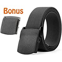 Men's Elastic Stretch Belt, JASGOOD Outdoor Plastic Belt with Removable Buckle Hiking Belt 38mm
