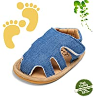 Baby Shoes Unisex Newborn, Morbuy Simple Style Infant Toddler Sandals Boy Girls Comfortable Leather First Shoes Soft Sole Anti-Slip Velcro Shoes (6-12 month, Denim blue)