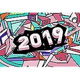 Yeele 7x5フィート Happy New Year Backdrop 2019 - 抽象的なカラフルな壁背景 写真撮影パーティー お祝い バナー 男の子 女の子 大人用 写真ブース 撮影 ビニール スタジオ 小道具