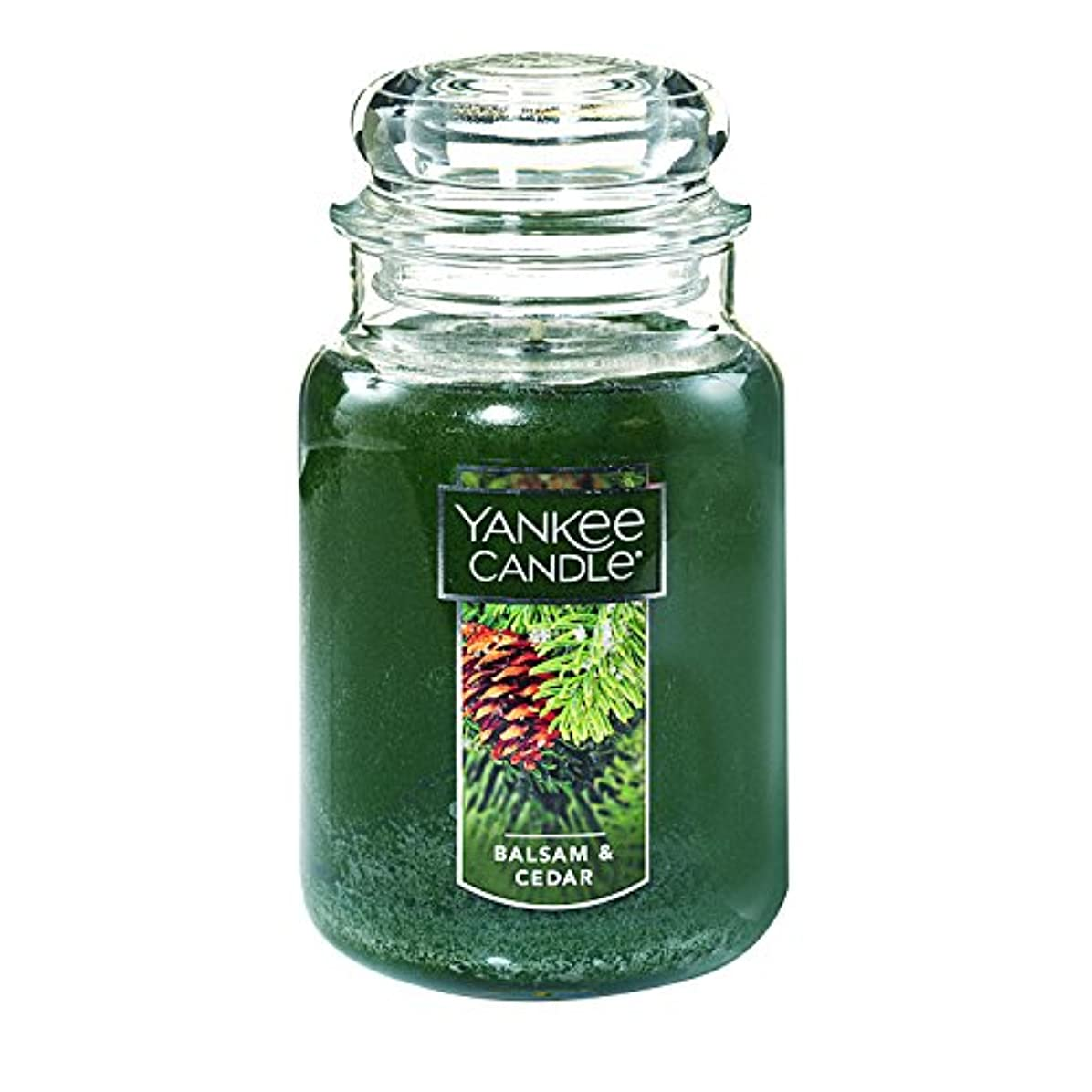 衝撃製造業使い込む(ヤンキーキャンドル) Yankee Candle ラージ 22オンス ジャーキャンドル バルサム&シダー Large Jar Candle グリーン 1062314