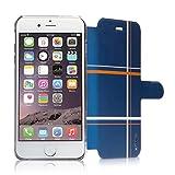 ahha 日本正規品 iPhone6 Plus 5.5 inch Dual Face Flip Case SYKES MIX, Blue Checker/Space Grey リバーシブル 右開き/左開き 両対応 スタンド機能 つき 手帳型 ブックタイプ デュアル フェイス フリップ ケース A-FPIH655-DM3G