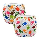 ALVABABY 赤ちゃん 水着 再利用可能 防水 スイム布 水遊び スイムパンツ おむつ 2枚セット ZSW-YA135136-JP