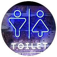 Men Women Toilet Restroom Washroom Dual Color LED看板 ネオンプレート サイン 標識 白色 + 青色 300 x 210mm st6s32-i2774-wb