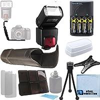 Pro SeriesデジタルSLR auto-focus /自動電源ズームTTLフラッシュW / LCD表示+デュアルShoe右角度ブラケットフラッシュ+ 4AAバッテリー充電器+デラックスアクセサリーキットfor Canon 30d 40d 50d 60d 70d 5d 5diii 1d 6d 7d Mark 2DSLRカメラ